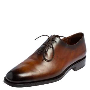 Berluti Brown Leather Alessandro Démesure Lace Up Oxford Size 40