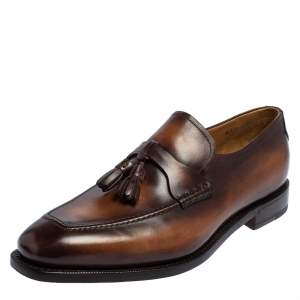 Berluti Brown Leather Tasseled Loafers Size 42.5
