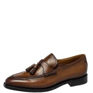 Berluti Brown Leather Tasseled Loafers Size 39