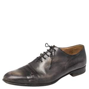 Berluti Black Leather Gaspard Galet Oxfords Size 43