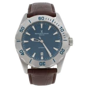 Bernhard H. Mayer Blue Stainless Steel Leather Ballad BH05/CWR Men's Wristwatch 44 mm