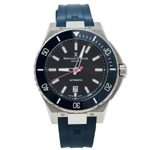 Bernhard H. Mayer Black Stainless Steel Limited Edition PowerMaster First Blue BH37T/CW Men's Wristwatch 44 mm