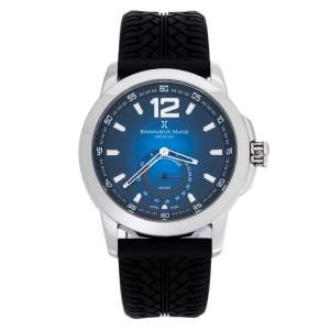 ساعة يد رجالية برنارد اتش. ماير دريفت سيليكون أسود ستانلس ستيل زرقاء 44 مم