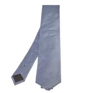 ربطة عنق بوس باي هوغو بوس جاكار حرير نمط هندسي أزرق