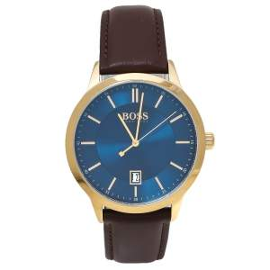 Hugo Boss Blue Rose Gold Tone Stainless Steel Leather Boss HB.332.1.34.3269 Men's Wristwatch 41 mm