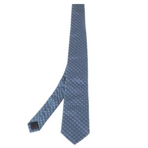 Boss By Hugo Boss Blue Geometric Patterned Silk Tie