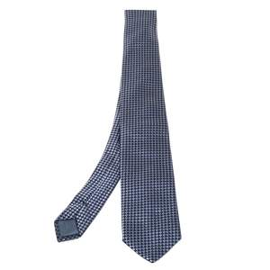 Boss By Hugo Boss Grey & Blue Checkered Silk Tie