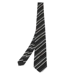 Boss By Hugo Boss Black Striped Silk Tie