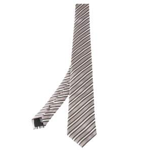 Boss By Hugo Boss White Diagonal Striped Silk Tie