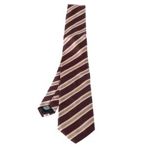 Boss By Hugo Boss Burgundy Striped Silk Tie