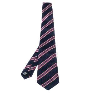 Boss By Hugo Boss Blue & Pink Striped Silk Tie