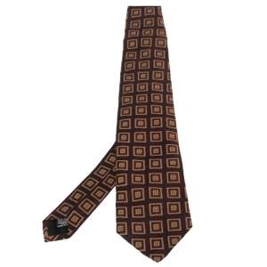 Boss By Hugo Boss Burgundy Square Patterned Silk Jacquard Traditional Tie