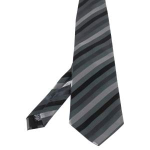 Boss By Hugo Boss Dark Grey Diagonal Striped Silk Tie