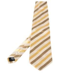 ربطة عنق بوس باي هوغو بوس حرير مخطط أصفر وبيج