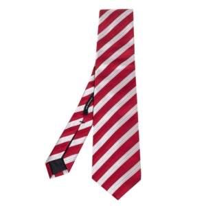 ربطة عنق بوس باي هوغو بوس حرير مخطط جاكار فضي وأحمر