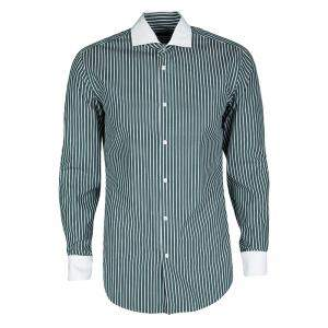 Boss By Hugo Boss Green and White Striped Long Sleeve Slim Fit Jonah Shirt S