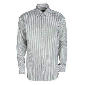 Boss By Hugo Boss Olive Green and White Striped Cotton Regular Fit Shirt XXL