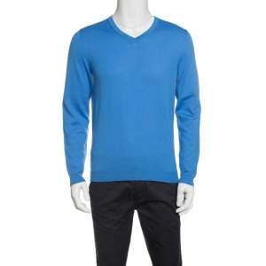 Boss By Hugo Boss Blue Extra Fine Merino Wool Slim Fit Baku-B Sweater M