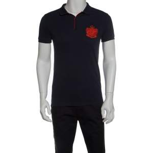Boss By Hugo Boss Navy Blue Pima Cotton Logo Embroidered Polo T-Shirt L