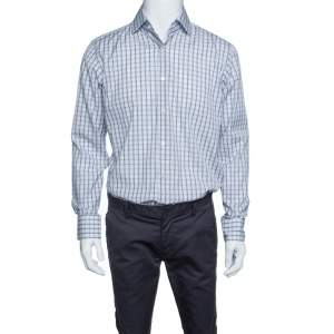 Boss By Hugo Boss Checkered Cotton Regular Fit Button Front Shirt M