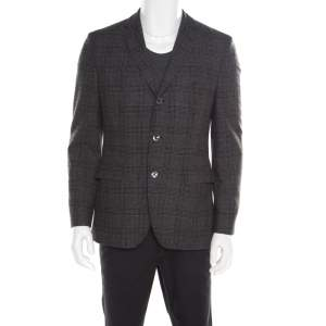 Boss By Hugo Boss Grey and Black Houndstooth Pattern Wool Johnston3 Blazer M
