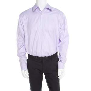 Boss By Hugo Boss Purple Striped Two Ply Regular Fit Shirt 2XL (EU 45)