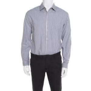 Boss Green By Hugo Boss Grey and White Striped Cotton Contrast Trim Bony Shirt L
