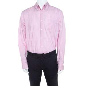 Boss By Hugo Boss Pink Striped Cotton Button Front Long Sleeve Shirt XL