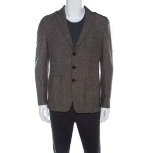 Boss By Hugo Boss Brown Herringbone Wool Regular Fit Jacket L