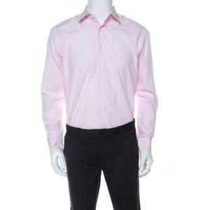 Boss By Hugo Boss Light Pink Cotton Regular Fit Enzo Shirt M