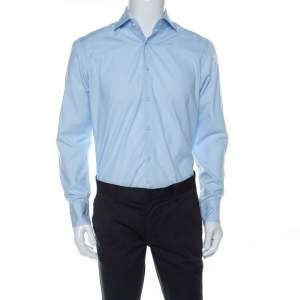 Boss By Hugo Boss Light Blue Cotton Regular Fit Eraldin Shirt M