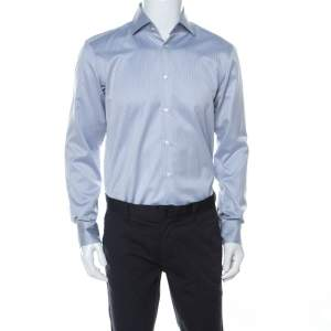 Boss By Hugo Boss Blue and White Woven Cotton Gerald Shirt M