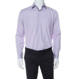 Boss by Hugo Boss Lilac Pinstriped Cotton Joey Shirt L