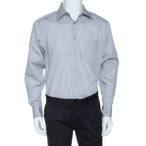 Boss By Hugo Boss Light Grey Cotton Classic Fit Elton Shirt L