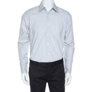 Boss By Hugo Boss White Patterned Cotton Enzo Shirt M