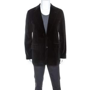 Boss By Hugo Boss Black Striped Velvet Casso Blazer XL