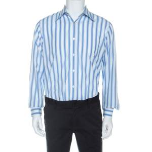 Boss By Hugo Boss Blue Striped Cotton Long Sleeve Shirt L