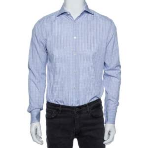 Boss By Hugo Boss Lavender Checked Cotton Slim Fit Shirt M