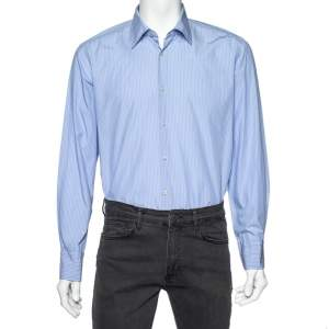 Boss By Hugo Boss Light Blue Striped Cotton Long Sleeve Shirt L