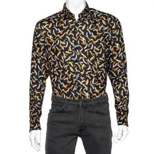 Boss By Hugo Boss Black Printed Linen Relegant Regular Fit Shirt M