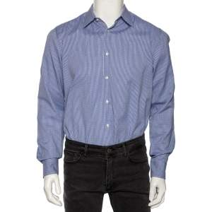 Boss By Hugo Boss Blue Check Cotton Button Front Slim Fit Shirt M