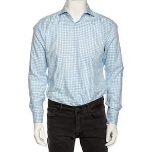 Boss Hugo Boss Blue Checkered Cotton Slim Fit Shirt M