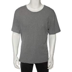 Boss by Hugo Boss Grey Cotton Logo Embroidered Short Sleeve T-Shirt XXL