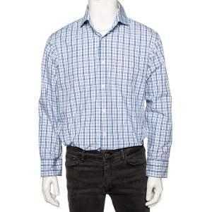 Boss By Hugo Boss Blue Checkered Cotton Button Front Regular Fit Shirt XL