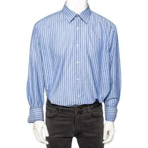 Boss By Hugo Boss Blue Striped Cotton & Linen Regular Fit Shirt XXXL