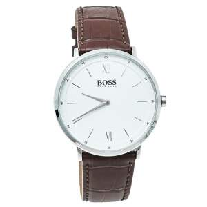 Hugo Boss White Stainless Steel Leather HB.274.1.14.3164 Quartz Men's Wristwatch 40 mm