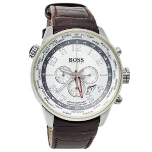 Hugo Boss Silver Stainless Steel Leather 1512739 Men's Wristwatch 44 mm