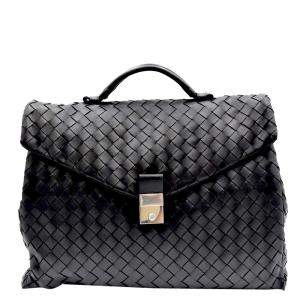 Bottega Veneta Black Intrecciato Briefcase Bag