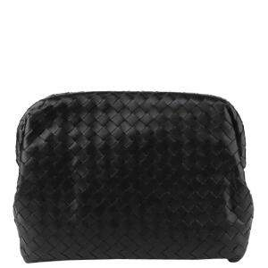 Bottega Veneta Black Leather Clutch