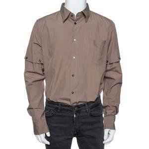 Bottega Veneta Light Brown Cotton Detachable Sleeve Detail Shirt XL